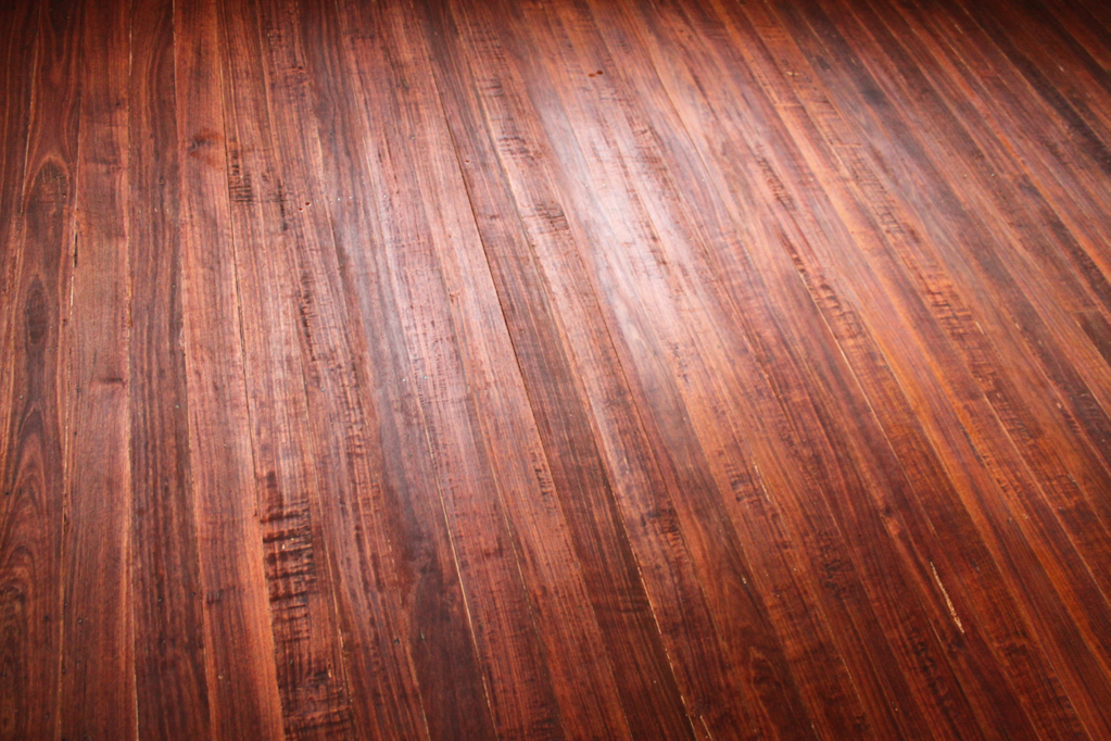 Floorboards stained