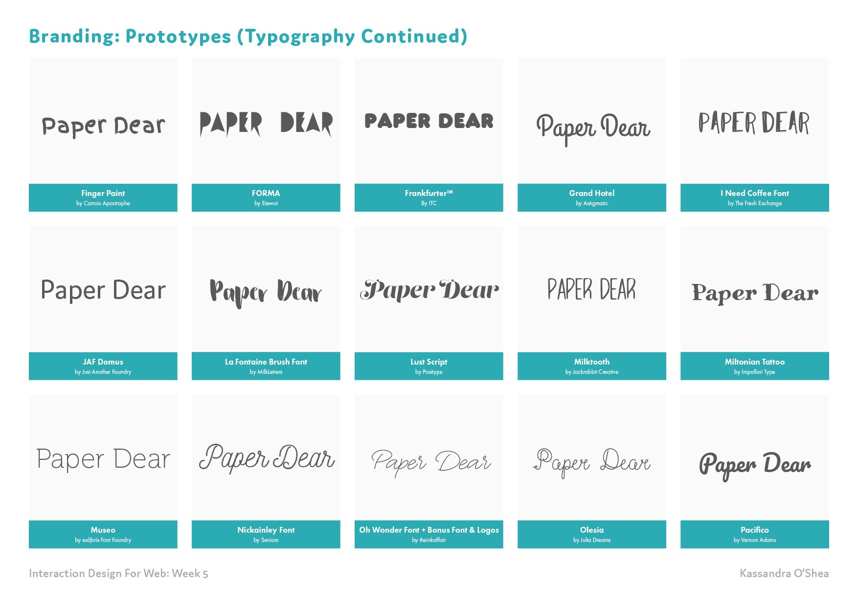 Branding: Prototypes (Typography)