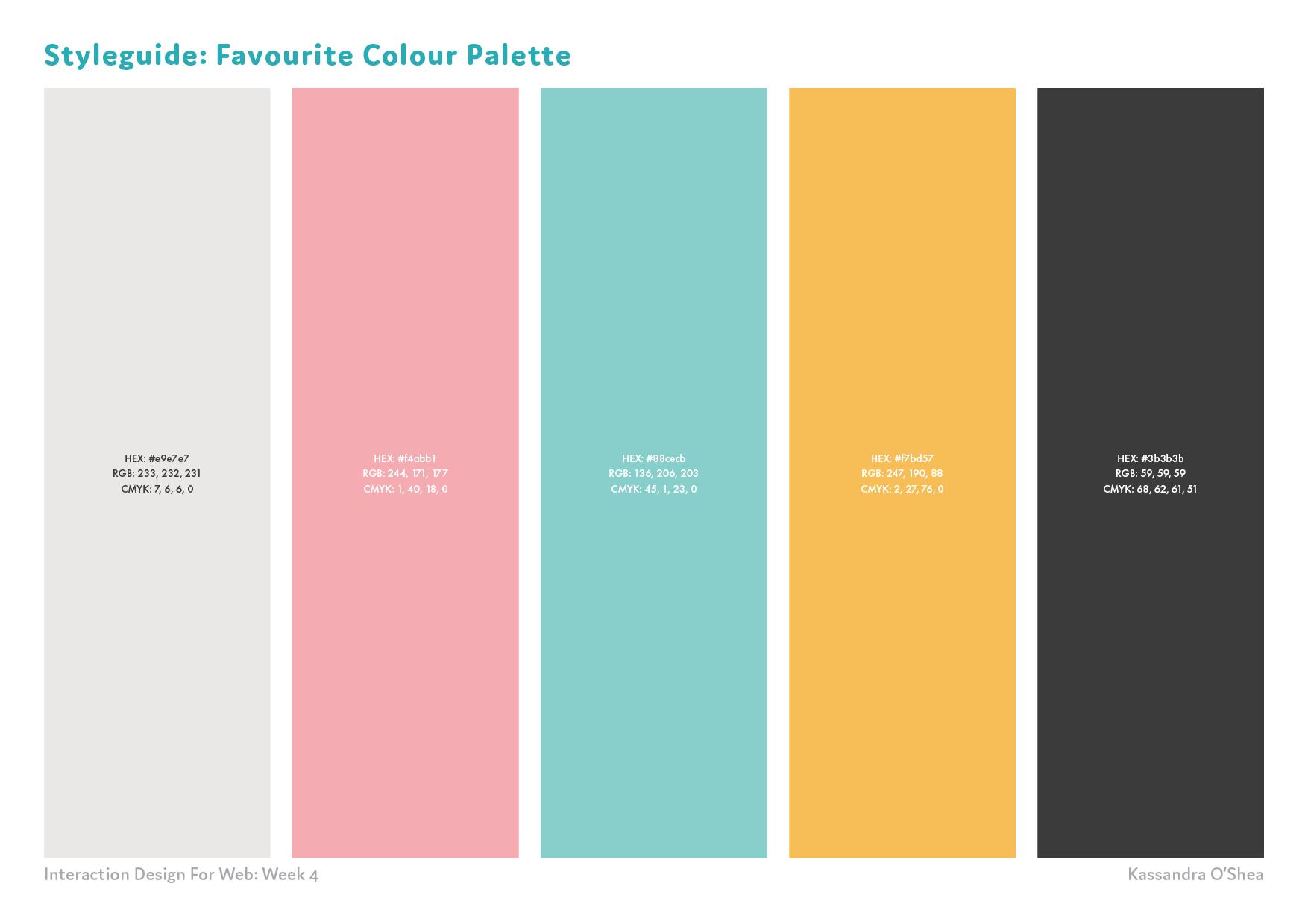 Styleguide: Favourite Colour Palette