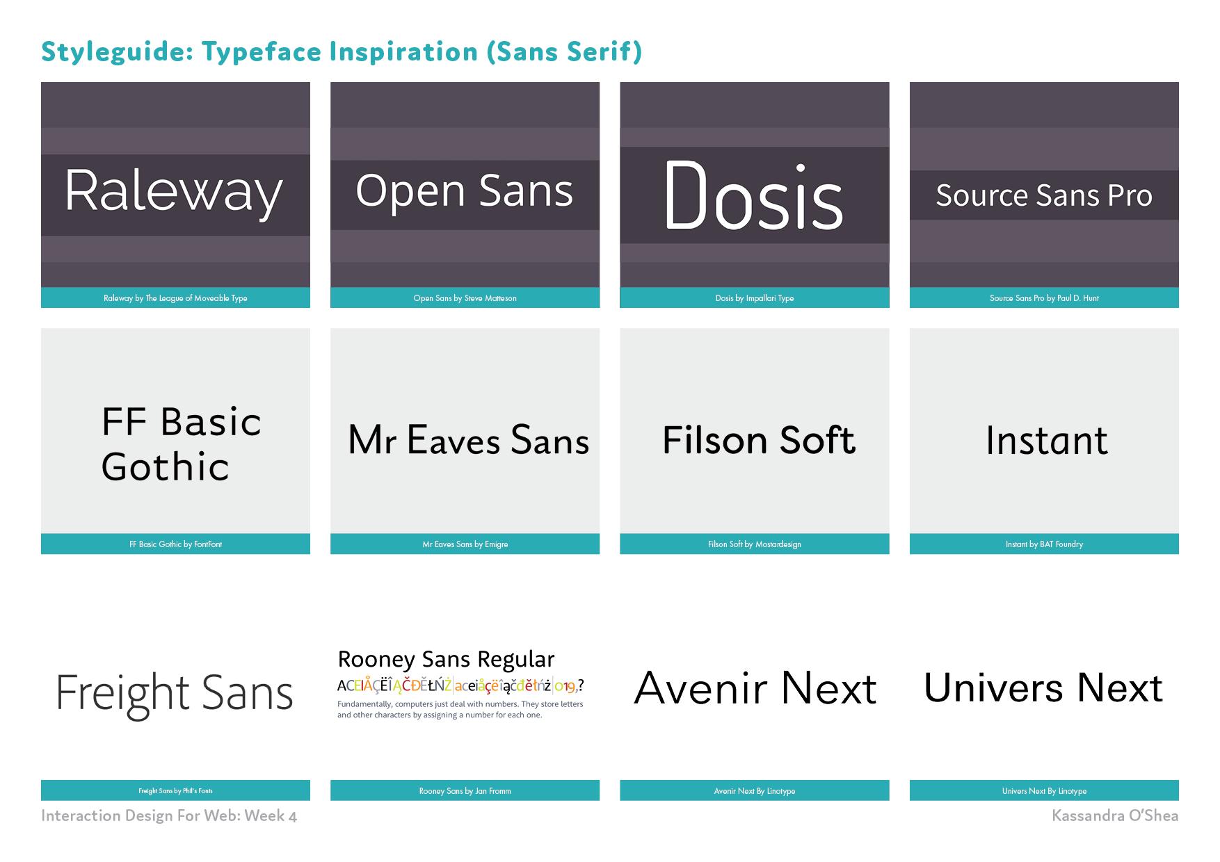 Styleguide: Typeface Inspiration (Sans Serif)