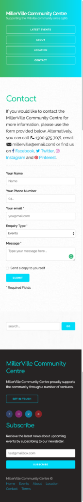 Example of prototype website contact & search form (palm)