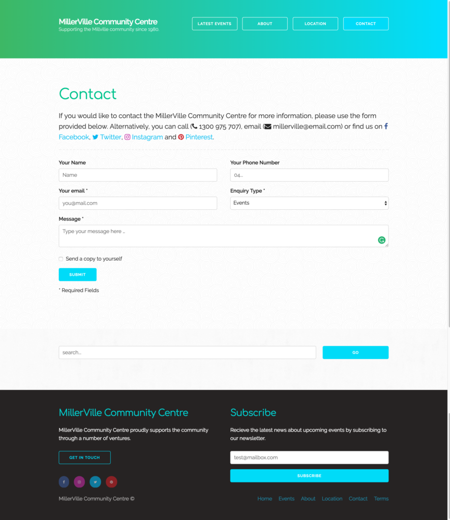 Example of prototype website contact & search form (desk)