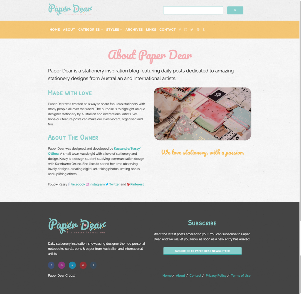 Paper Dear About Page