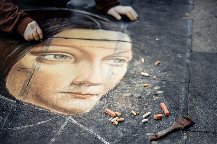 Pavement, street, street art and chalk HD photo by Bertrand Gabioud