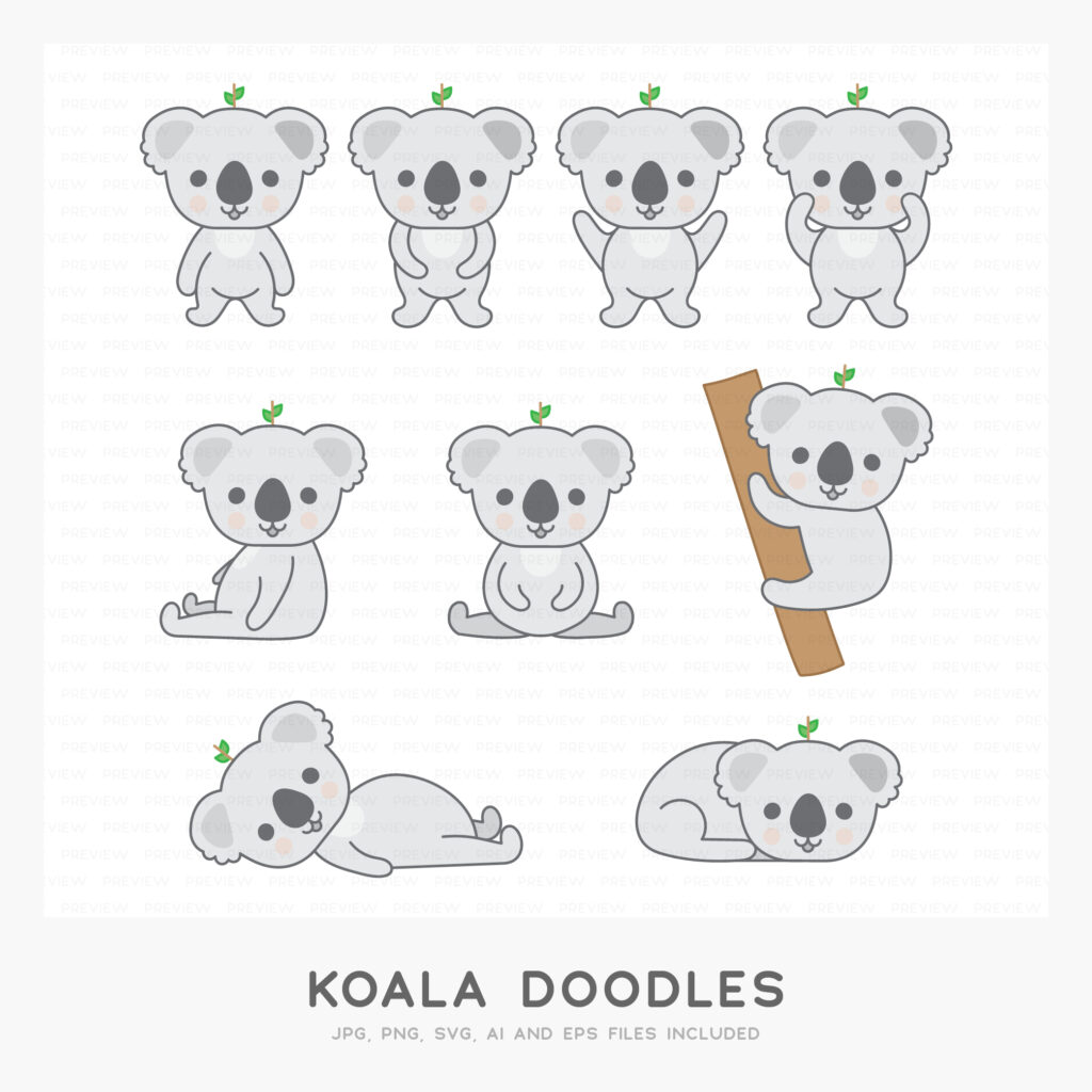 Koala Doodles (High-resolution JPG, PNG, SVG, AI and EPS files included)