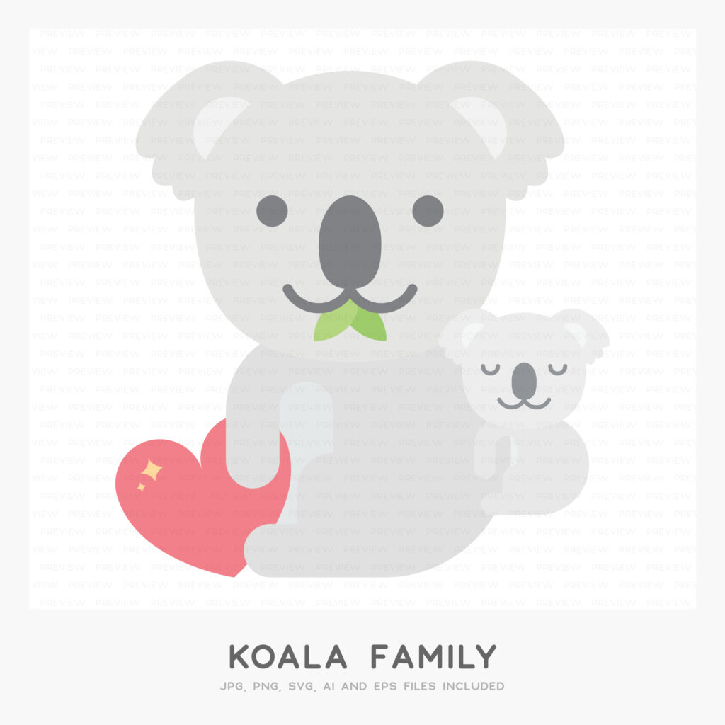 Koala Family (High-resolution JPG, PNG, SVG, AI and EPS files included)