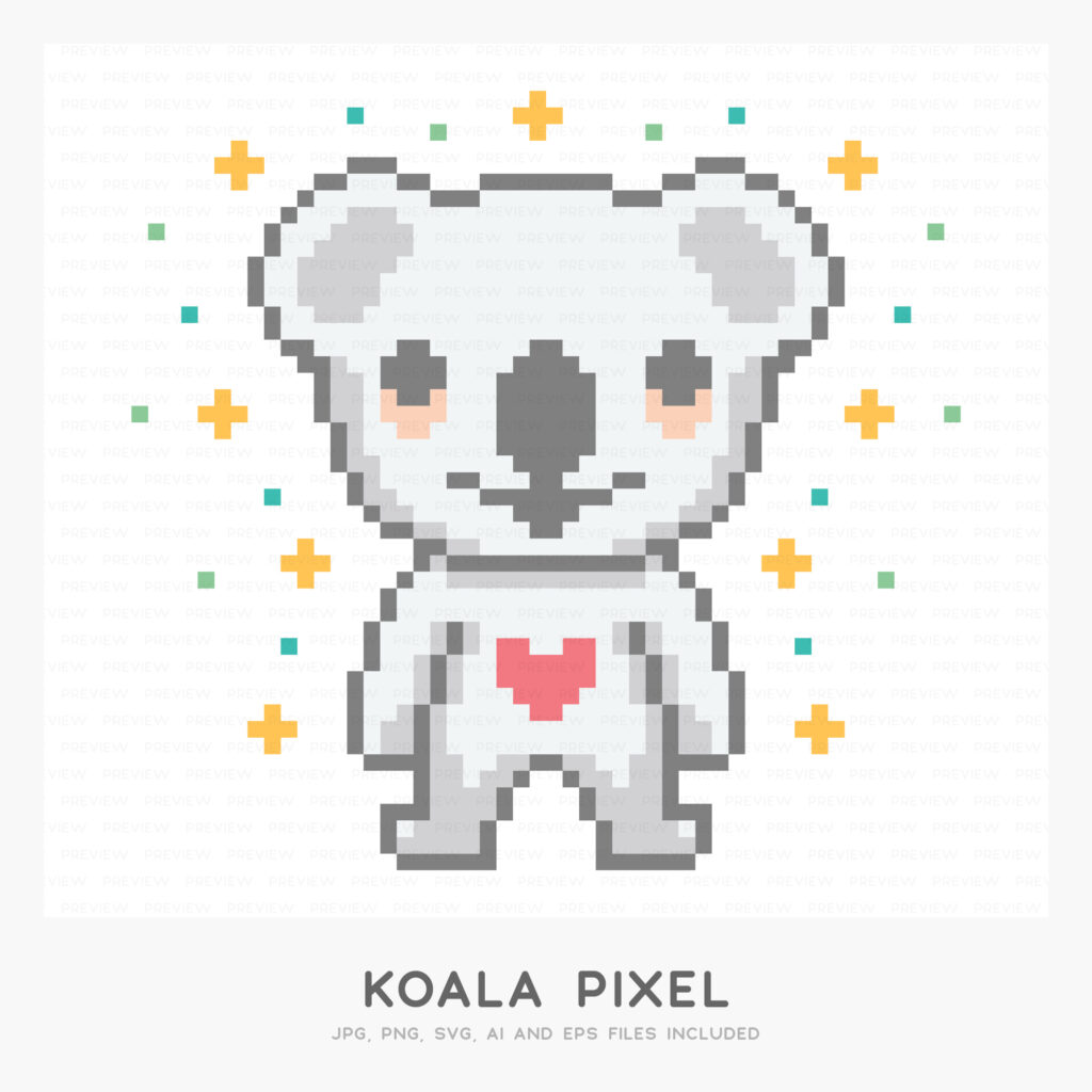 Koala Pixel (High-resolution JPG, PNG, SVG, AI and EPS files included)