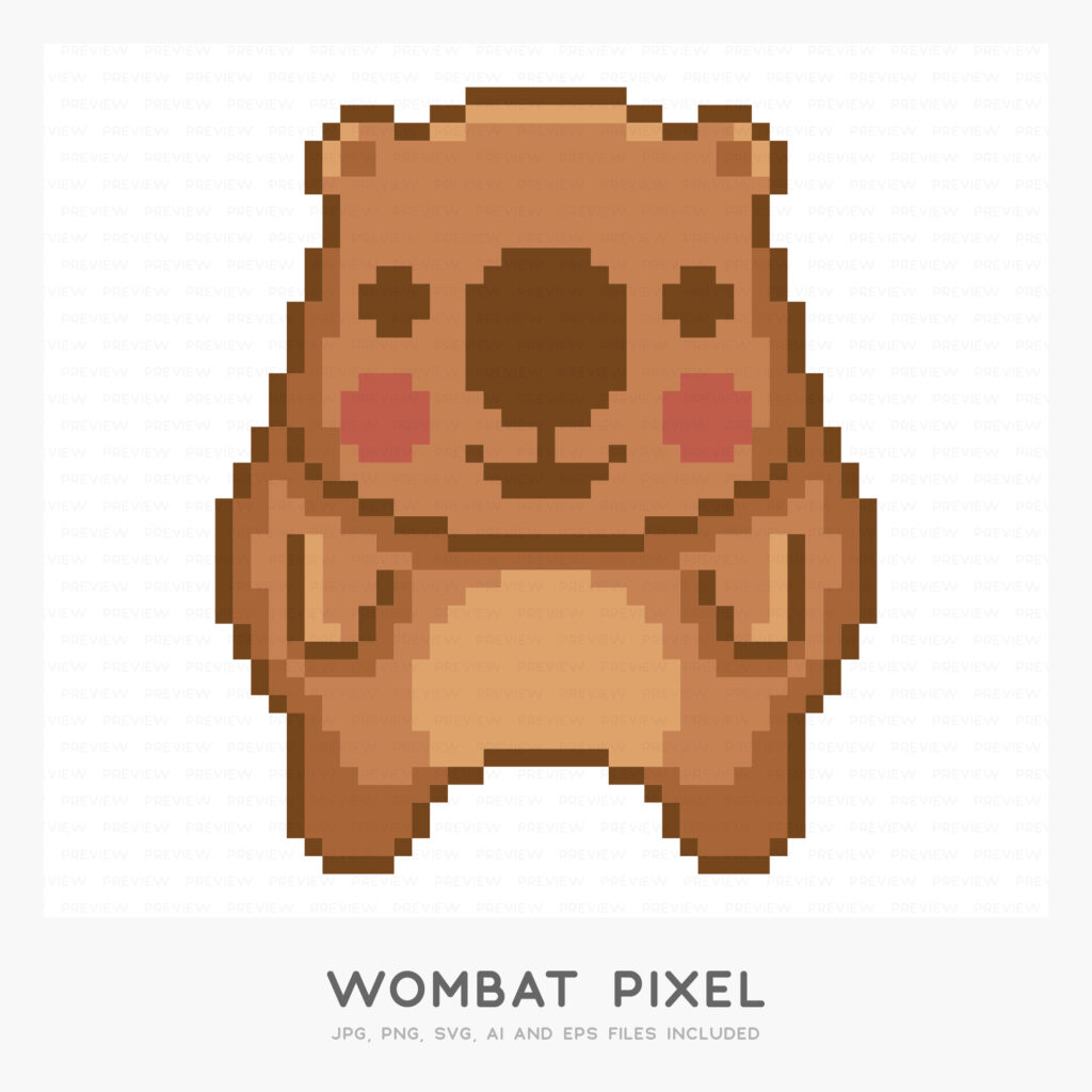 Wombat Pixel (High-resolution JPG, PNG, SVG, AI and EPS files included)