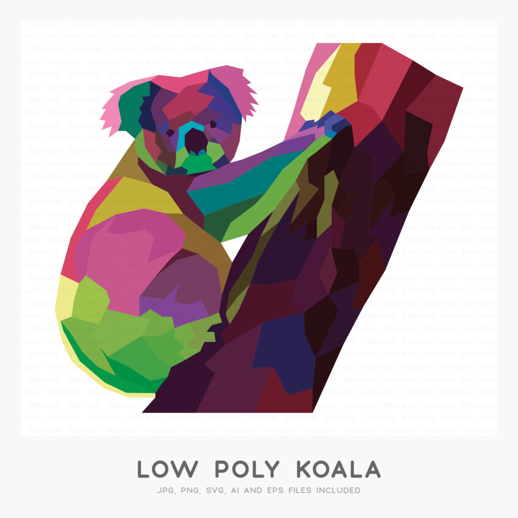 Low Poly Koala (High-resolution JPG, PNG, SVG, AI and EPS files included)