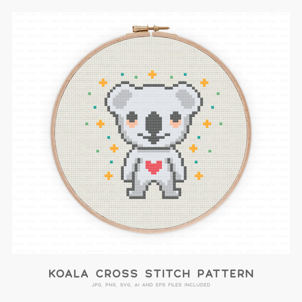 Koala Cross Stitch Pattern (High-resolution JPG, PDF pattern and instructions included)