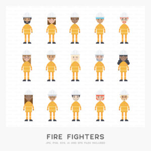 Fire Fighters Illustration (High-resolution JPG, PNG, SVG, AI and EPS files included)