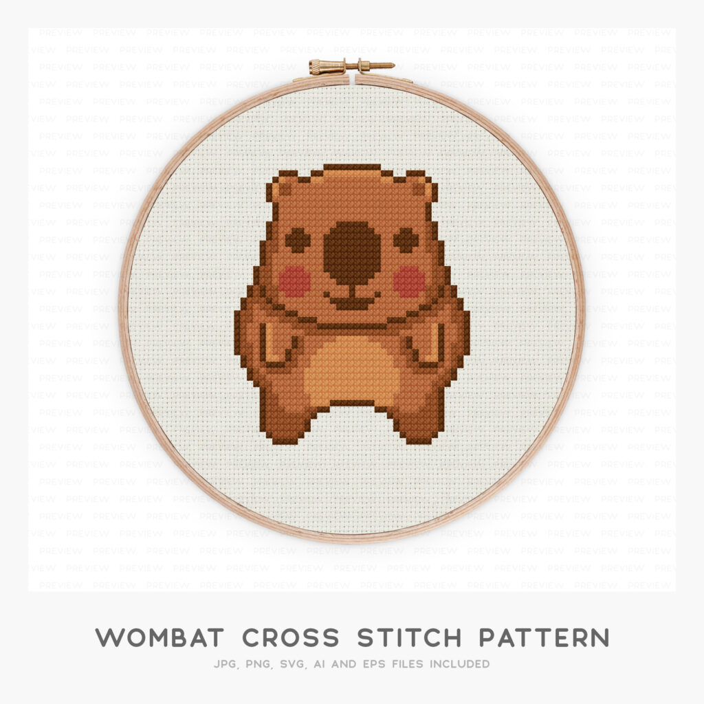 Wombat Cross Stitch Pattern (High-resolution JPG, PDF pattern and instructions included)