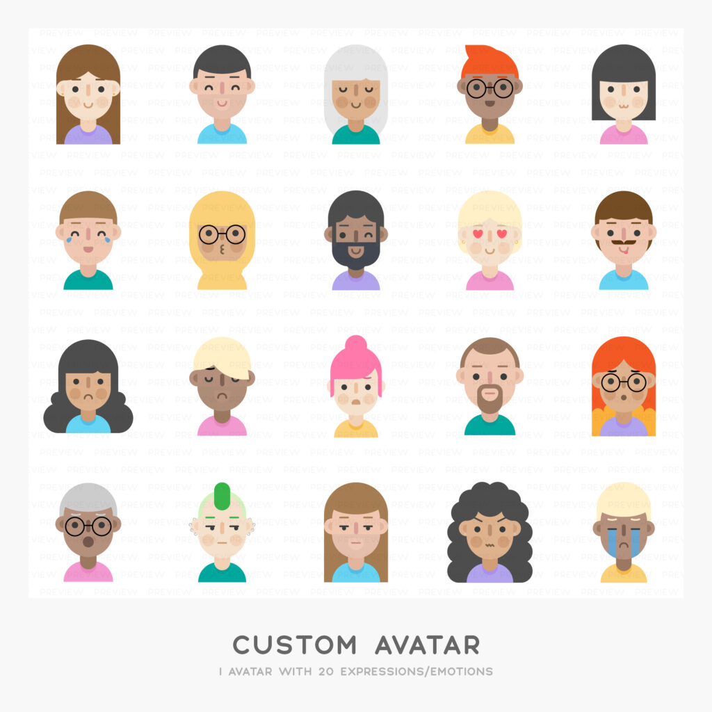 1 Custom avatar with 20 expressions/emotions