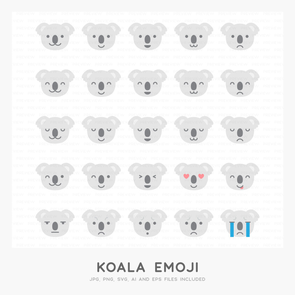 Koala Emoji (High-resolution JPG, PNG, SVG, AI and EPS files included)