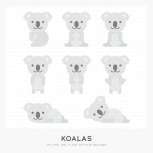 Koalas (High-resolution JPG, PNG, SVG, AI and EPS files included)
