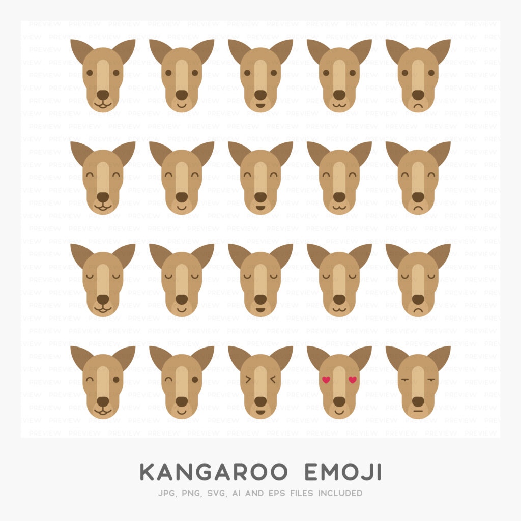 Kangaroo Emoji (High-resolution JPG, PNG, SVG, AI and EPS files included)