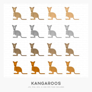 Kangaroos (High-resolution JPG, PNG, SVG, AI and EPS files included)