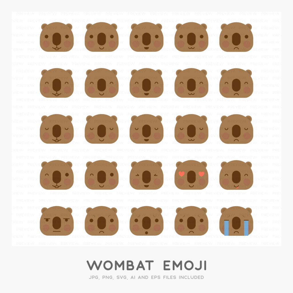 Wombat Emoji (High-resolution JPG, PNG, SVG, AI and EPS files included)