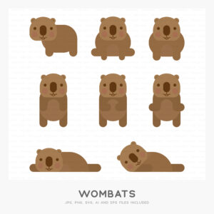 Wombats (High-resolution JPG, PNG, SVG, AI and EPS files included)